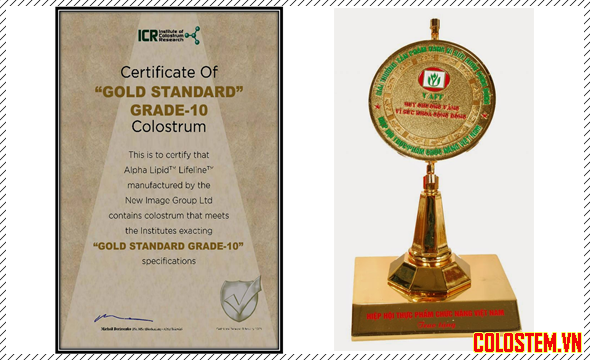 giấy chứng nhận của viện nghiên cứu sữa non ICR