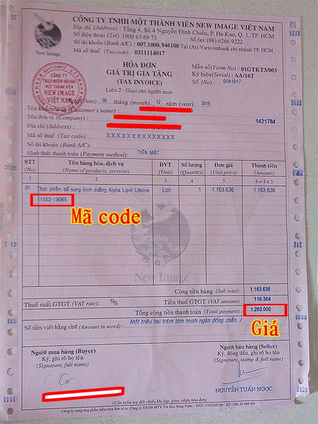Hóa đơn giá trị gia tăng của công ty New Image Việt Nam